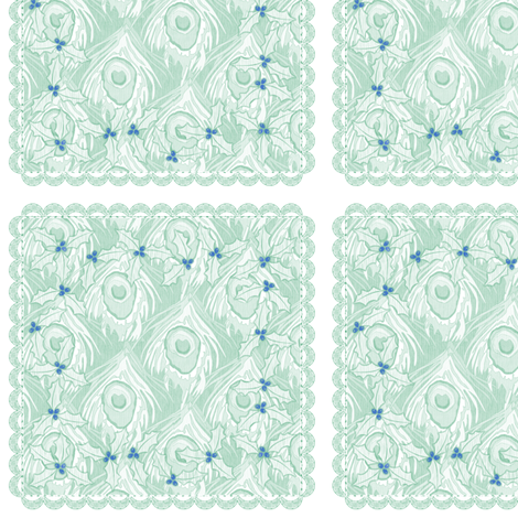 holiday cocktail napkins - peacock - mint fabric by glimmericks on Spoonflower - custom fabric