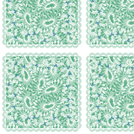 holiday cocktail napkins - paisley mums - mint fabric by glimmericks on Spoonflower - custom fabric