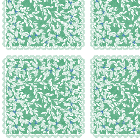 holiday cocktail napkins - leaves - mint fabric by glimmericks on Spoonflower - custom fabric