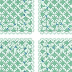 holiday cocktail napkins - chainmail - mint