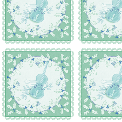 holiday cocktail napkins - delft violins - mint fabric by glimmericks on Spoonflower - custom fabric
