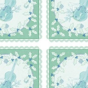 holiday cocktail napkins - delft violins - mint