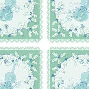 holiday cocktail napkins - delft violins - mint