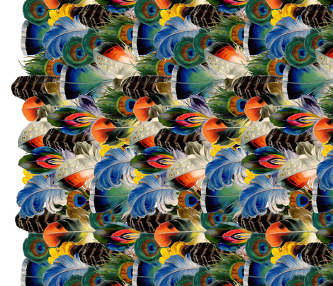Rainbow Feathers Border fabric by poshcrustycouture on Spoonflower - custom fabric