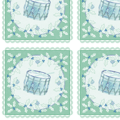 holiday cocktail napkins - delft drum - mint fabric by glimmericks on Spoonflower - custom fabric