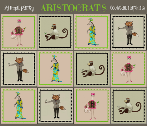 Aristocrat's animal party cocktail napkins fabric by paragonstudios on Spoonflower - custom fabric