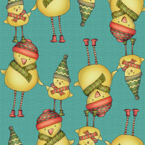 Two Chicks - teal fabric by catru on Spoonflower - custom fabric