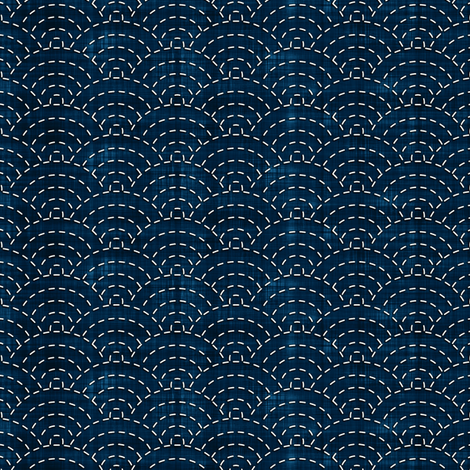 Sashiko: Seikaiha - Ocean waves fabric by bonnie_phantasm on Spoonflower - custom fabric
