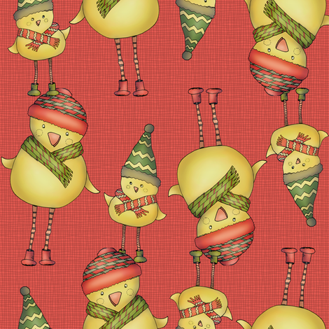 Two Chicks - red fabric by catru on Spoonflower - custom fabric