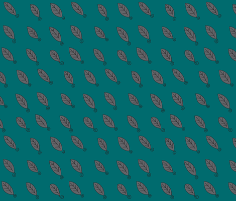 teal gray leaves fabric by dnbmama on Spoonflower - custom fabric