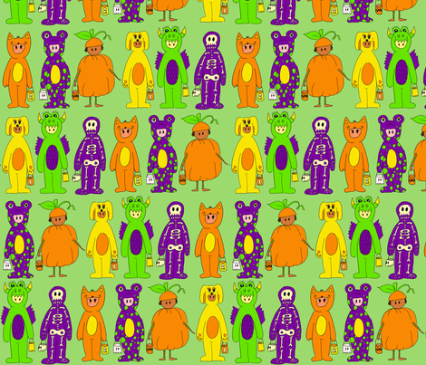 Costumes in Green Background fabric by lauralvarez on Spoonflower - custom fabric