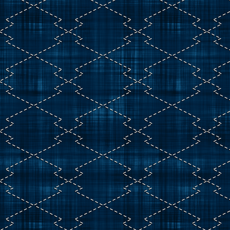 Sashiko: Matsukawa-Bishi - Pine shaped diamond fabric by bonnie_phantasm on Spoonflower - custom fabric