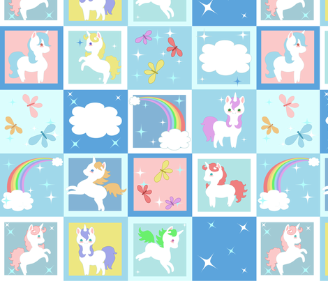 Little Unicorns Cheater Quilt fabric by lyddiedoodles on Spoonflower - custom fabric