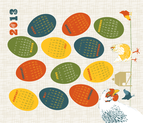 2013 Chickens Tea Towel fabric by dusty_pony_design on Spoonflower - custom fabric