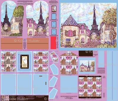 Cut And Sew Paris Inspired Cityscape And Pointillism Fabric Pattern To Make Photo Frame, Oven Mitt, House Shaped Oven Mitt, Brooch, Pot Holder, And Wall Hanging Or Quilt Patch, by Kristie Hubler