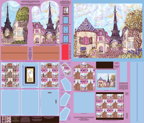 Cut And Sew Paris Inspired Cityscape And Pointillism Fabric Pattern To Make Photo Frame, Oven Mitt, House Shaped Oven Mitt, Brooch, Pot Holder, And Wall Hanging Or Quilt Patch, by Kristie Hubler fabric by fabricatedframes on Spoonflower - custom fabric