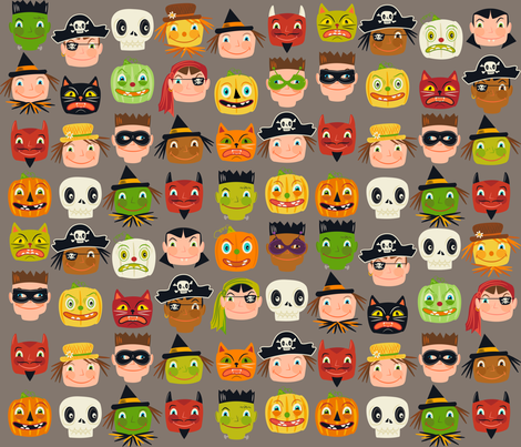 I spy a disguise ~ Halloween faces (on warm grey) fabric by retrorudolphs on Spoonflower - custom fabric