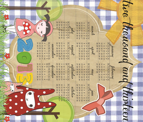 2013 Little Red & the Rabbits Calendar fabric by hushaby&quirks on Spoonflower - custom fabric