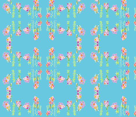 flowers_against_blue fabric by rachana on Spoonflower - custom fabric