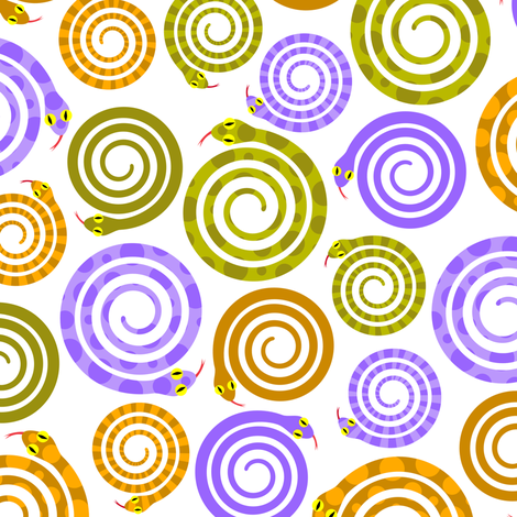 Mesmerizing snakes fabric by petitspixels on Spoonflower - custom fabric
