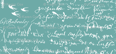 French Script white on bold teal
