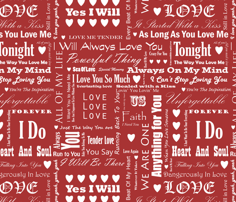 Love_Songs_White_Text_Red_3_S fabric by ecepelin on Spoonflower - custom fabric