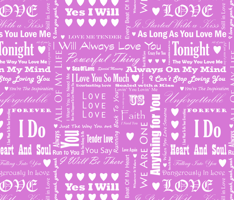 Love_Songs_White_Text_Pink_3_S fabric by ecepelin on Spoonflower - custom fabric
