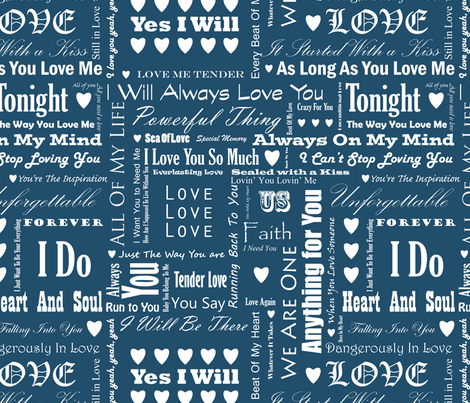 Love_Songs_White_Text_Blue_3_S fabric by ecepelin on Spoonflower - custom fabric