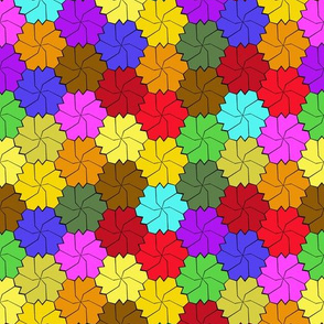 Colorful Floral Tessellated Hexagon - Red, Blue, Brown, Purple, Yellow, Orange, Green