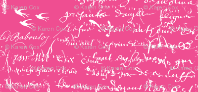 French Script, White on Hot Pink