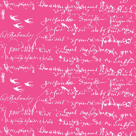 French Script, White on Hot Pink fabric by karenharveycox on Spoonflower - custom fabric