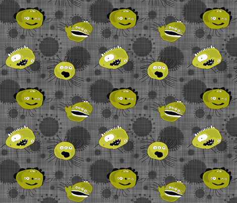 Germs! Creepy, crawly germs - eeeew! fabric by run_quiltgirl_run on Spoonflower - custom fabric
