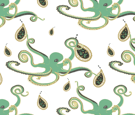 Paisley Ink Octopi fabric by leahvanlutz on Spoonflower - custom fabric