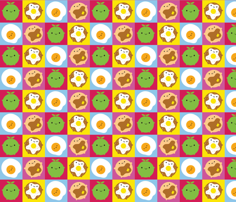 Happy Breakfast Squares fabric by marcelinesmith on Spoonflower - custom fabric