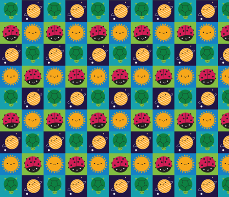 Happy Nature Squares fabric by marcelinesmith on Spoonflower - custom fabric