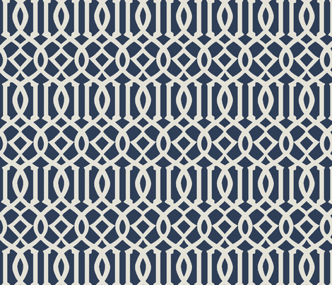 Trellis Fabric imperial trellis-navy fabric - mrsmberry - spoonflower