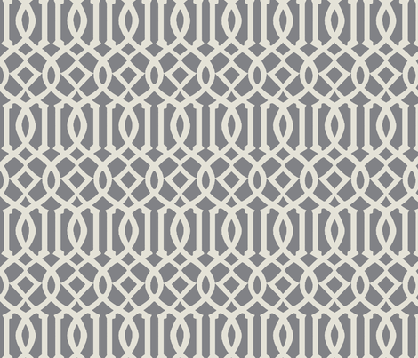 Trellis Fabric imperial trellis-light gray fabric - mrsmberry - spoonflower
