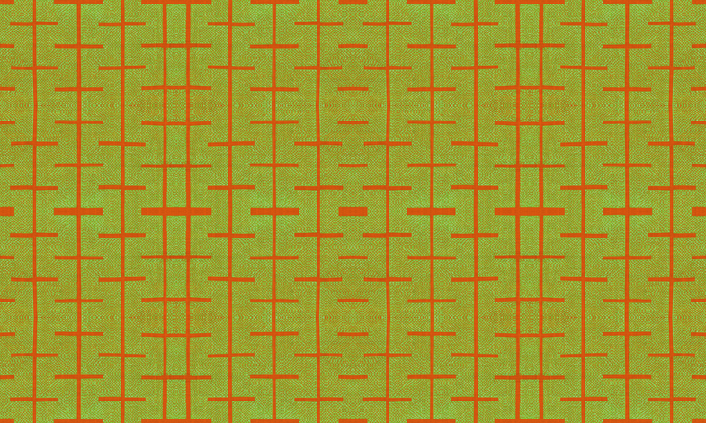 Yarrow stix - Lime green and terra-cotta orange fabric by materialsgirl on Spoonflower - custom fabric