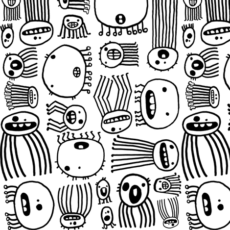 Halloween Creepy-Crawlie Spiders (black & white) fabric by pattyryboltdesigns on Spoonflower - custom fabric