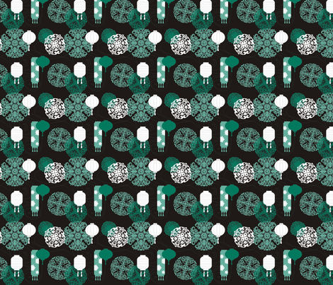 Chinese Lanterns in Black fabric by lauralvarez on Spoonflower - custom fabric