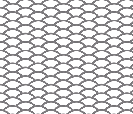Gray scallop on white background fabric by fridabarlow on Spoonflower - custom fabric