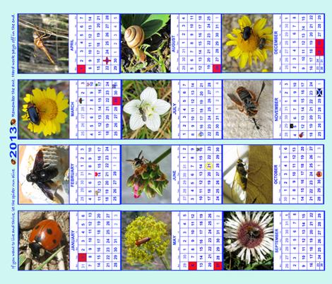 "Bug Calendar 2013 fabric by frances""fancy_felter"" on Spoonflower - custom fabric"