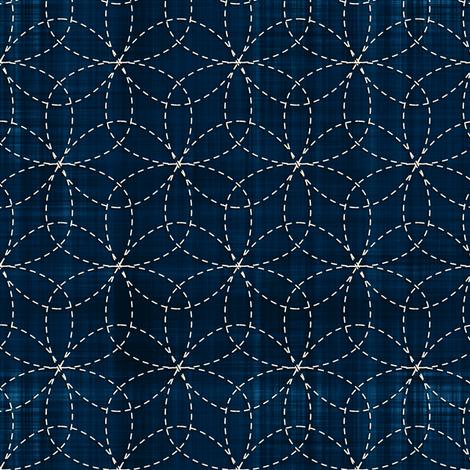 Sashiko: Hana-Zashi - Flower fabric by bonnie_phantasm on Spoonflower - custom fabric