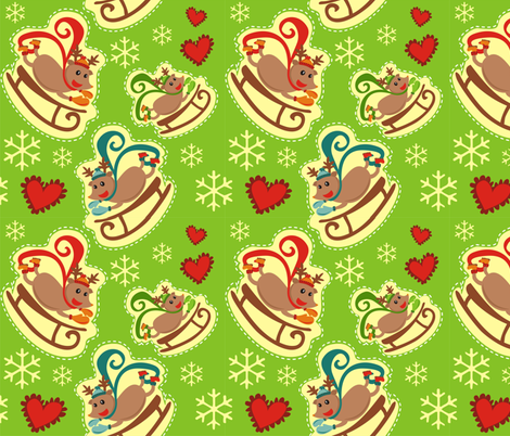 Green Reindeer Sleigh fabric by lauralvarez on Spoonflower - custom fabric