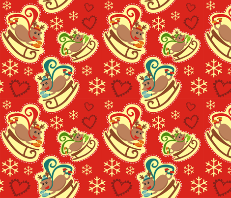 Red Reindeer Sleigh fabric by lauralvarez on Spoonflower - custom fabric
