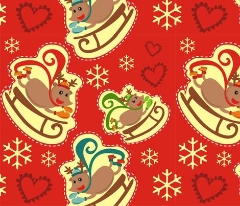 Red Reindeer Sleigh Big fabric by lauralvarez on Spoonflower - custom fabric