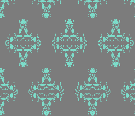Gray and Aqua Damask fabric by captiveinflorida on Spoonflower - custom fabric