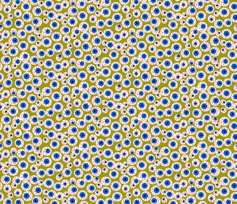 Eyeballs olive fabric by beebumble on Spoonflower - custom fabric