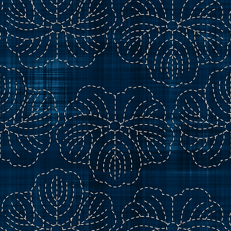 Sashiko: Hanami - Cherry Blossoms 2 fabric by bonnie_phantasm on Spoonflower - custom fabric
