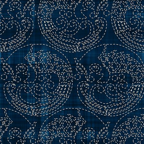 Sashiko: Koi - Carp fabric by bonnie_phantasm on Spoonflower - custom fabric